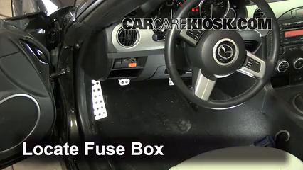 interior fuse box location 2006 2015 mazda mx 5 miata. Black Bedroom Furniture Sets. Home Design Ideas