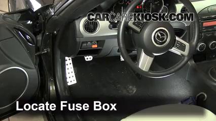 interior fuse box location: 2006-2015 mazda mx-5 miata - 2011 mazda mx-5  miata grand touring 2.0l 4 cyl.  carcarekiosk