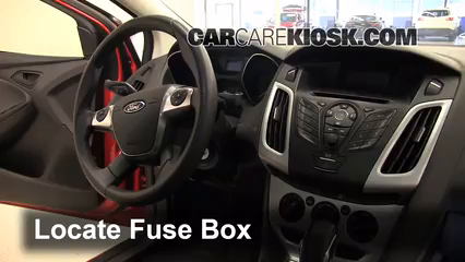 Interior Fuse Box Location: 2012-2018 Ford Focus - 2012 Ford Focus SE 2.0L  4 Cyl. SedanCarCareKiosk