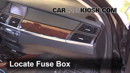 interior fuse box location: 2007-2013 bmw x5