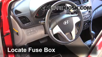 Interior Fuse Box Location: 2012-2017 Hyundai Accent - 2013 Hyundai Accent  GLS 1.6L 4 Cyl.CarCareKiosk