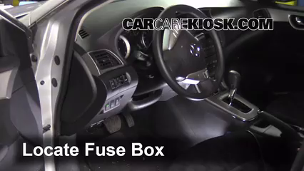 interior fuse box location 2013 2017 nissan sentra 2013 nissan 2012 nissan sentra ser interior locate interior fuse box and remove cover