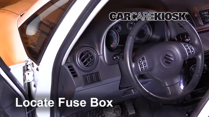 interior fuse box location: 2007-2013 suzuki sx4 - 2007 suzuki sx4 sport  2.0l 4 cyl.  carcarekiosk