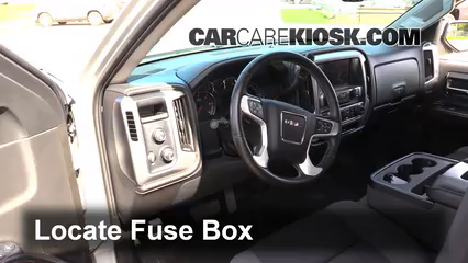 interior fuse box location: 2014-2018 gmc sierra 1500