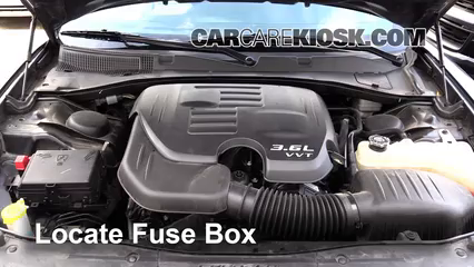 replace a fuse 2015 2017 dodge charger 2015 dodge charger se 3 6l 2006 Dodge Charger Fuse Box locate engine fuse box and remove cover