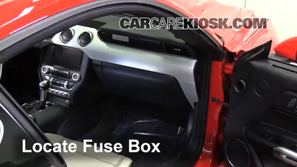 interior fuse box location 2015 2018 ford mustang 2015 fordlocate interior fuse box and remove cover