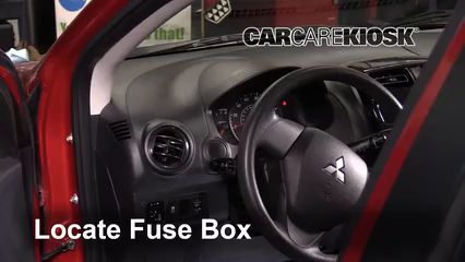 interior fuse box location 2014 2018 mitsubishi mirage 2015locate interior fuse box and remove cover