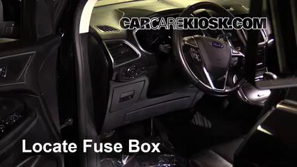 Interior Fuse Box Location: 2015-2019 Ford Edge - 2016 Ford Edge Titanium  2.0L 4 Cyl. Turbo | 2015 Ford Edge Fuse Diagram |  | CarCareKiosk