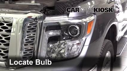 2017 Nissan Titan XD SL 5.6L V8 Lights Headlight (replace bulb)